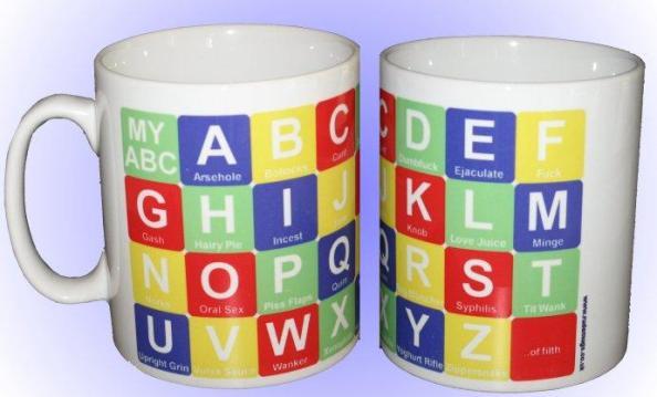 filthy alphabet mug