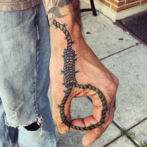 Hangman's noose tattoo by John Embry